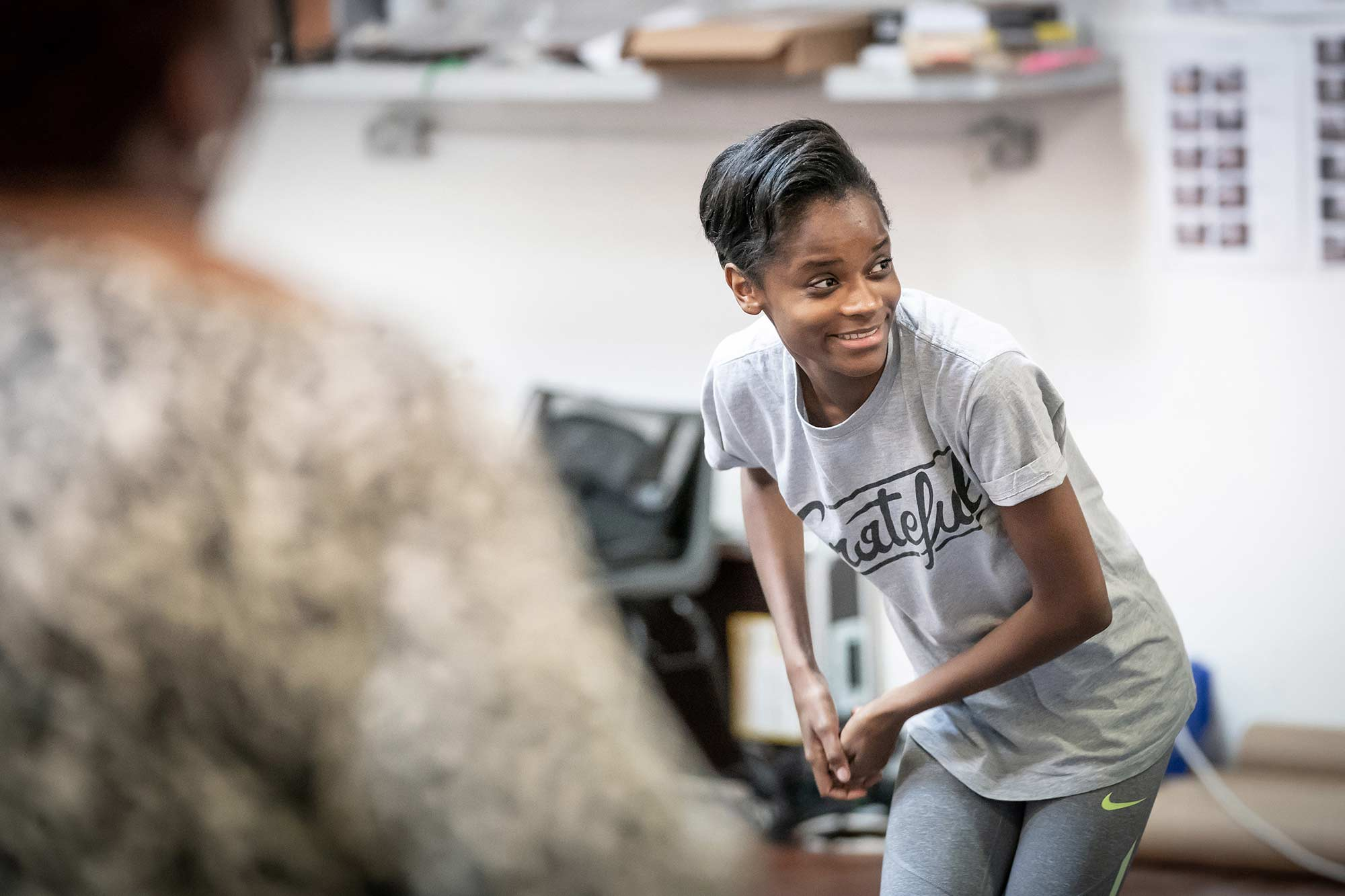 Letitia Wright in rehearsal for The Convert