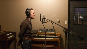 Zechariah tracking vocals at Strobe Recording