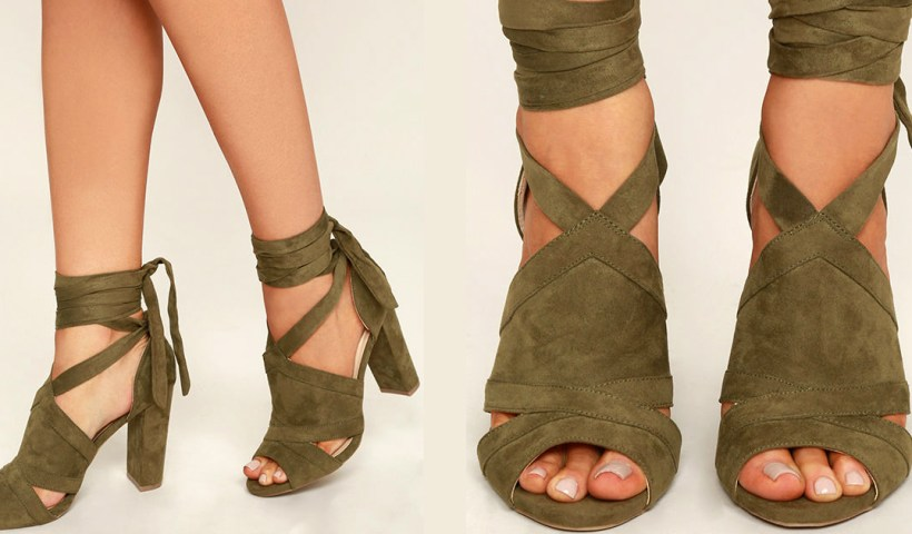 2d19e17e12854 A Bit of Fun Olive Green Suede Lace-Up Heels