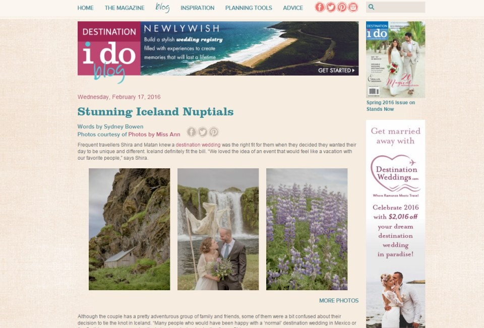 Iceland Adventure Wedding Featured on Destination I Do