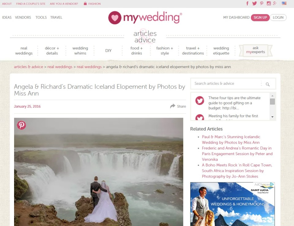 MyWedding Features Your Adventure Wedding Iceland Elopement