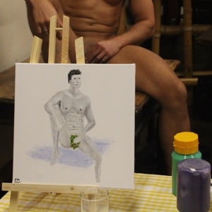 schilderij met een mannelijk naaktmodel