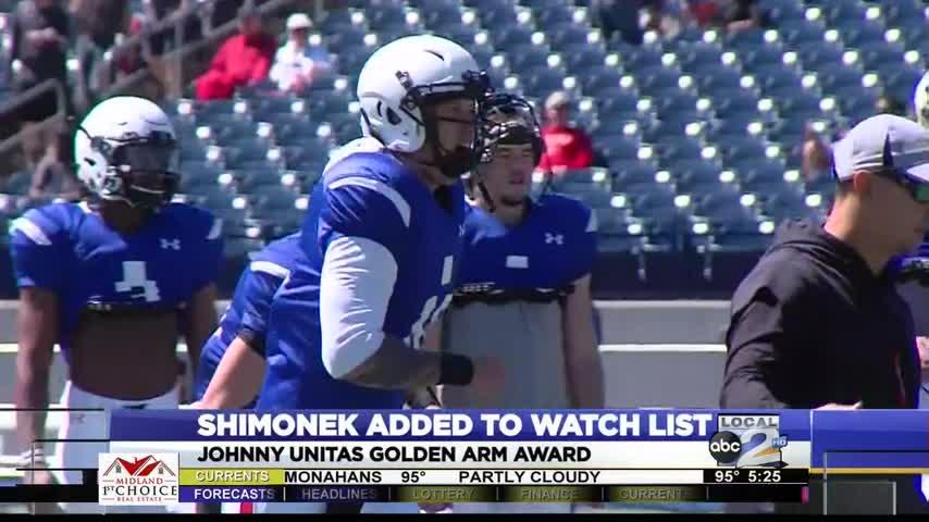 Shimonek Added to Unitas Golden Arm Award Watch List_73010414