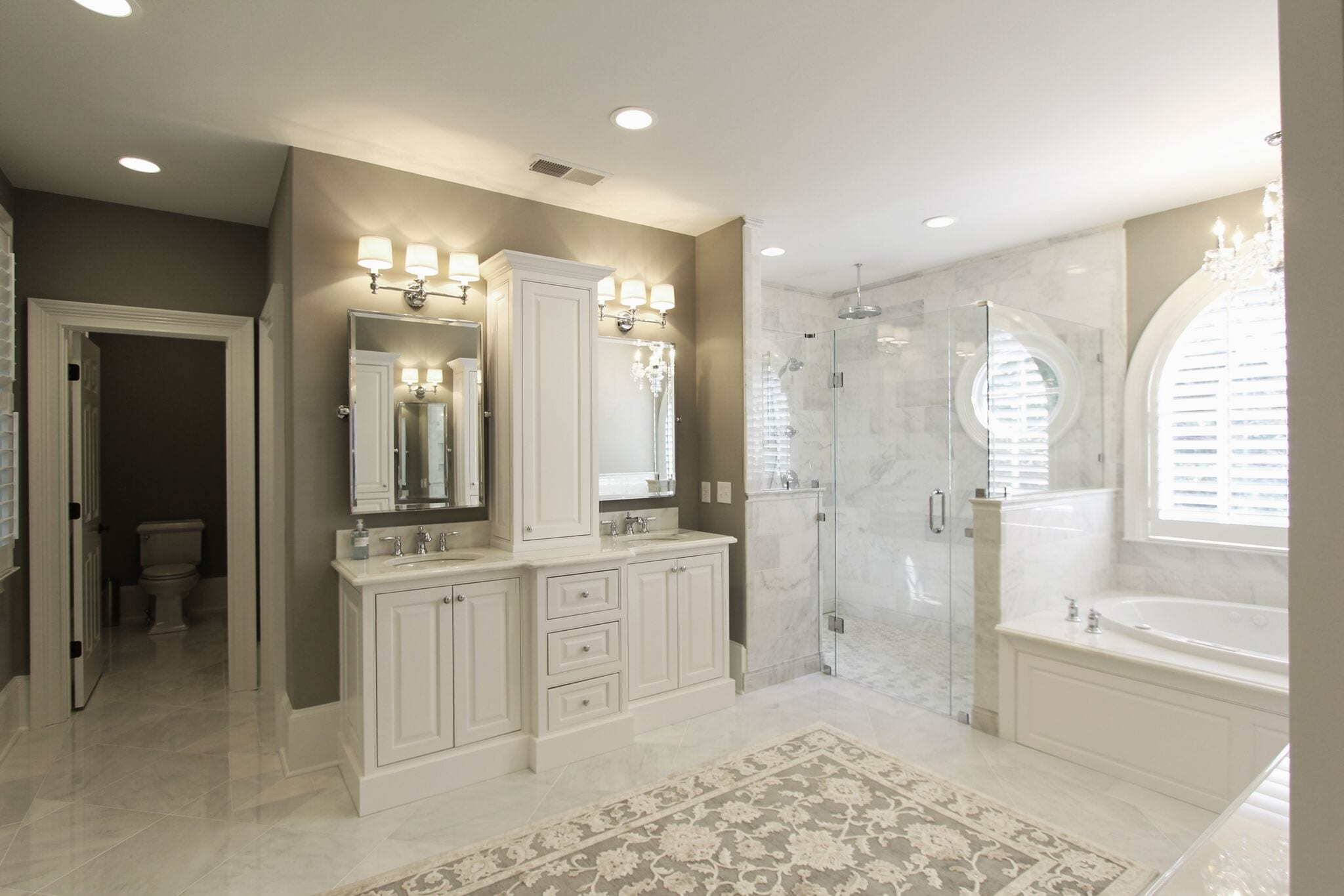 Inset Double Sink Vanity With Center Tower Luxury