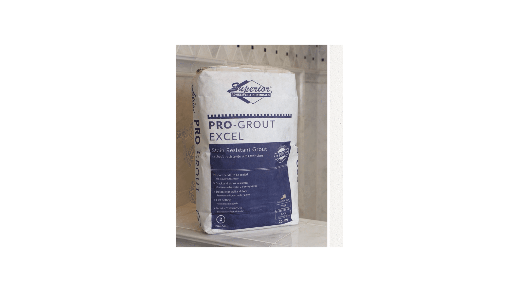 Pro Grout Excel Standard White 25lb Luxury Bathroom Products