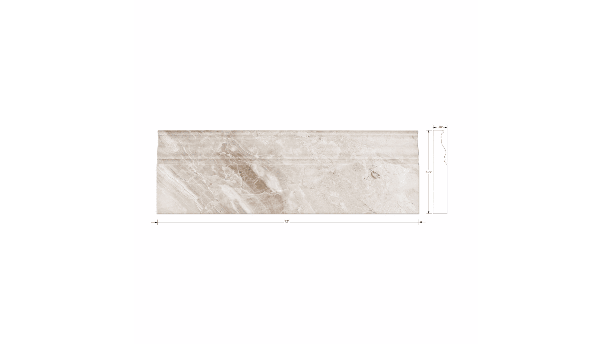 Queen Beige Polished Marble Skirting Floor Tile 475x12 In