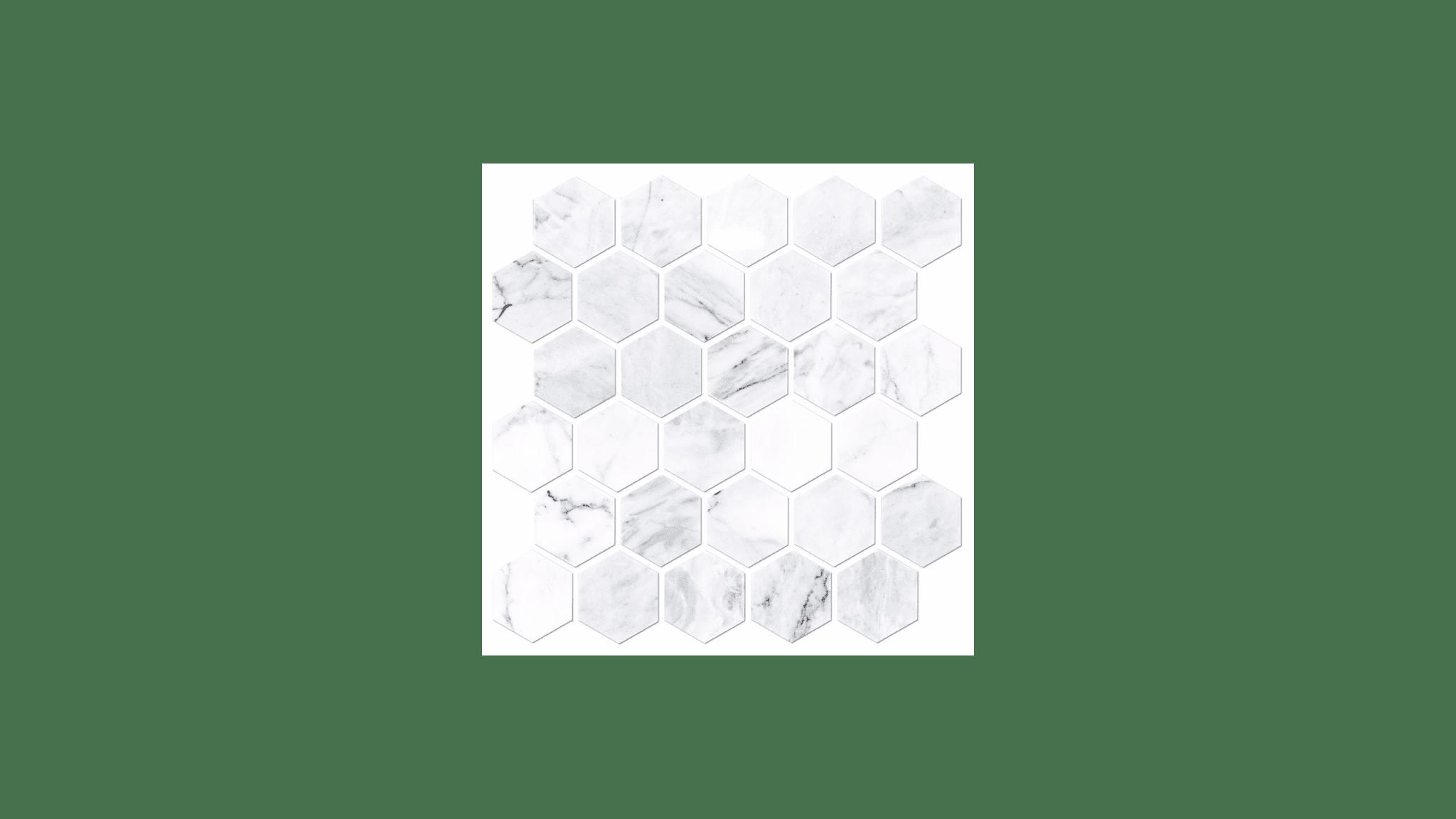 Ashford Carrara Polished Hex Marble Wall And Floor Tile