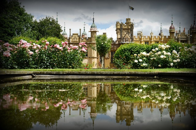 Castle garden and pond