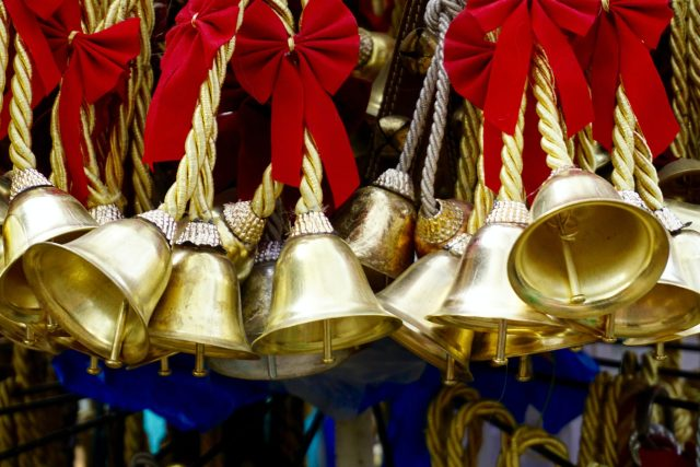 Gold bells with red bows