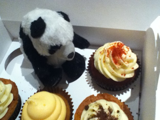 Mini Bob Contemplates some cuppycakes from the famous London Bakery, Peggy Porschens