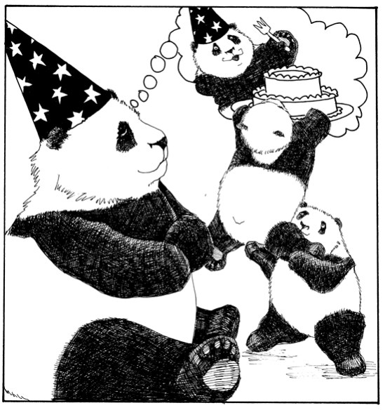 The Great, All Seeing, Bob the Magnificent, sees cake in his future!  Alas...he did not foresee the panda kindergarten!