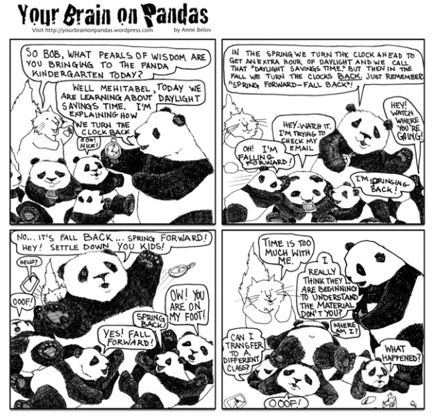 Bob explains daylight savings time to the panda kindergarten