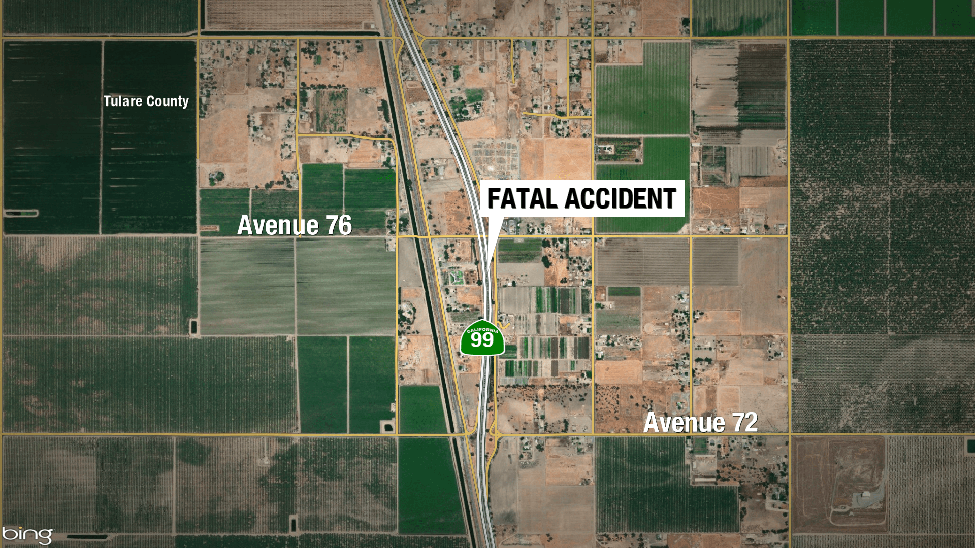 Map Of California Highway 99.Pedestrian Killed Crossing Highway 99 In Tulare County Chp Says