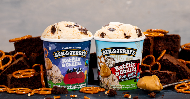 open cartons of ben and jerry's newest ice cream collaboration with Netflix