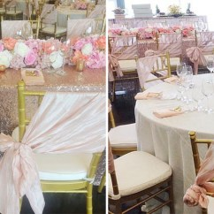 Rose Gold Satin Chair Sashes Striped Covers Photos Beautiful Blush And Sequin Bridal Shower By Var Events