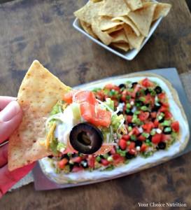 7 Layer Hummus Dip | recipe via www.yourchoicenutrition.com