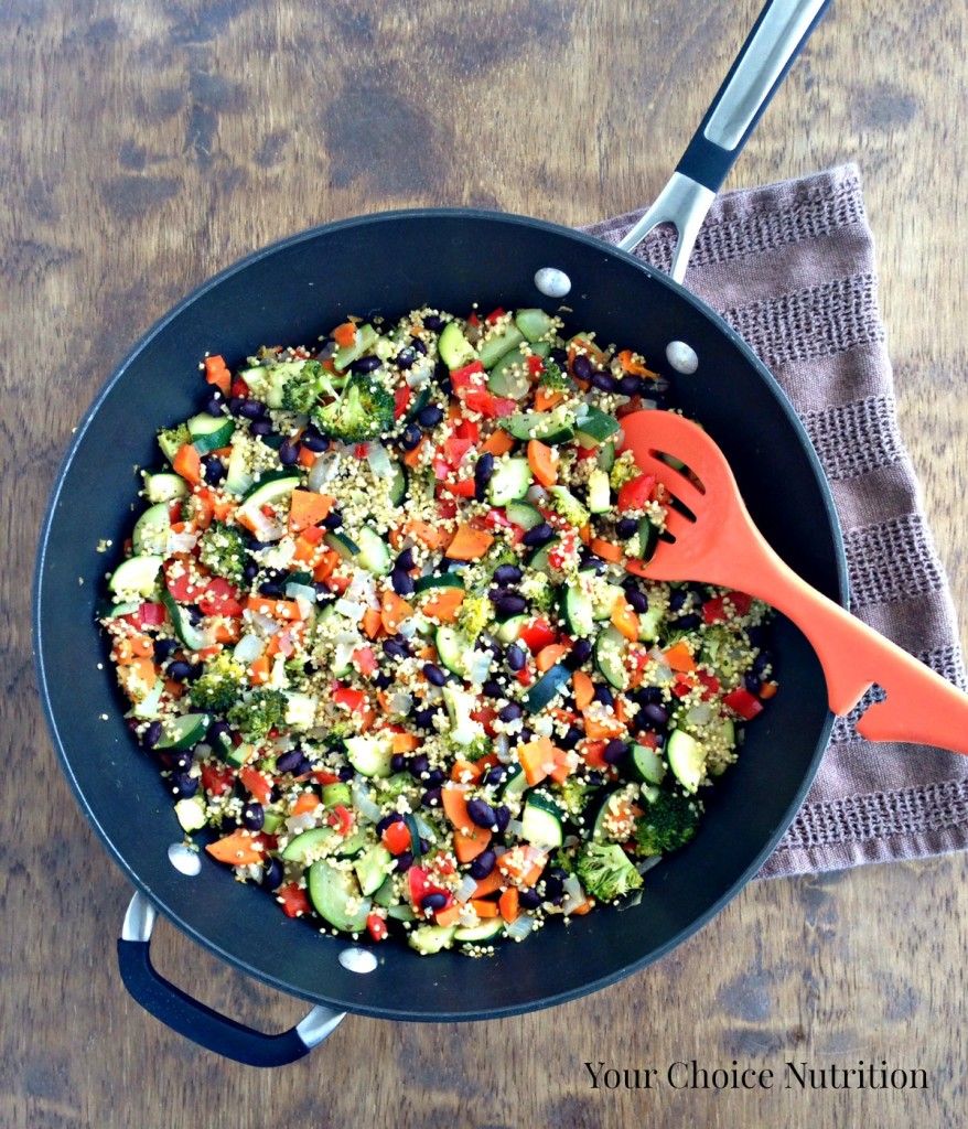 Veggie Millet Skillet. Vegetarian, Gluten-free and made with the ancient grain millet, this one pan skillet meal is perfect for busy weeknights!