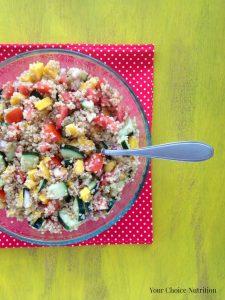 Cucumber Tomato Mango Quinoa Salad