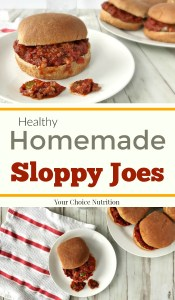 These Homemade Sloppy Joes are an easy lunch or dinner option you can have on the table in 30 minutes. Filled with vegetables and made with less sodium than store bought, you'll love this healthier version of the classic. | Recipe via www.yourchoicenutrition.com