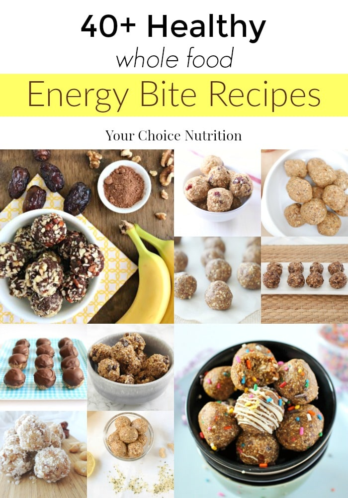 40+ Healthy Whole Food Energy Bite Recipes by registered dietitians | www.yourchoicenutrition.com