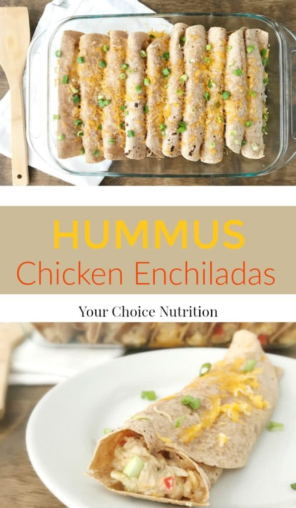 These Hummus Chicken Enchiladas are an easy, nutrient-packed dinner. A delicious recipe that will please everyone in the family. | recipe via www.yourchoicenutrition.com