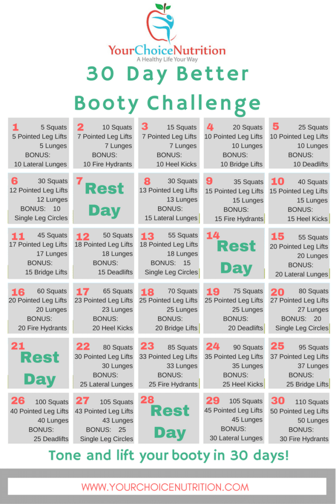 Tone and lift your booty in just 30 days! Join us for the 30 Day Better Booty Challenge   www.yourchoicenutrition.com