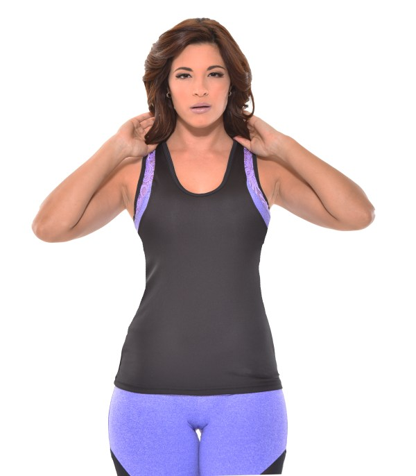 workout tank top model lilac front