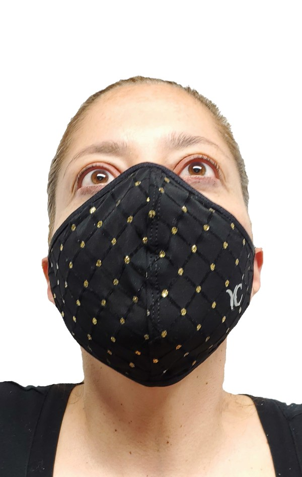 coronvirus. Face Mask, COVI-19, corona, Medical womans face mask spk black front