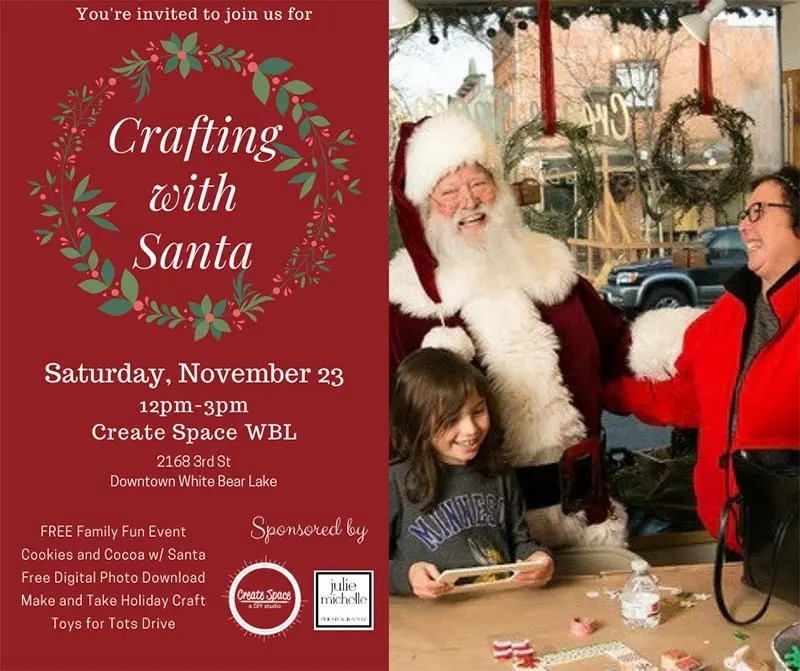 Crafting with Santa. Saturday November 23rd 12:00-3:00 pm. Free crafts, cocoa and pictures with santa.