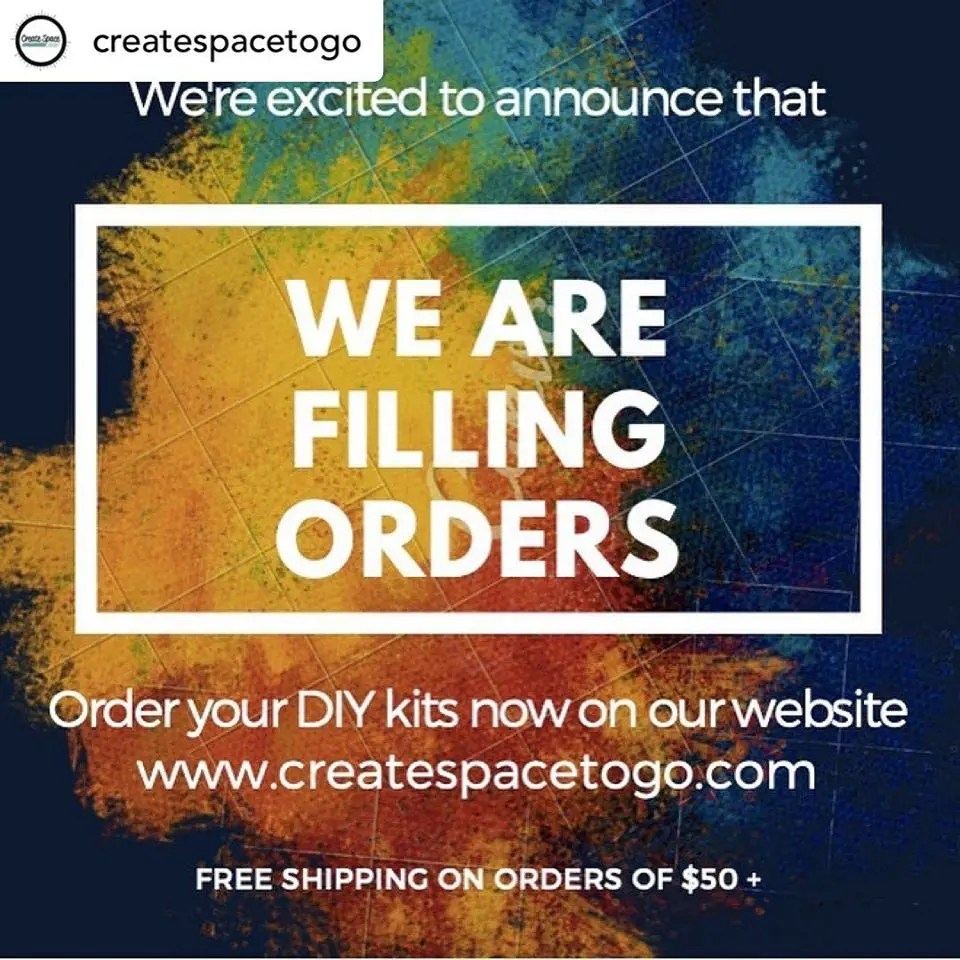 While our studio is closed, we are filling orders on our to to go web site.  Order your DIY kits now at www.createspacetogo.com Free shipping on orders of $50 or more.