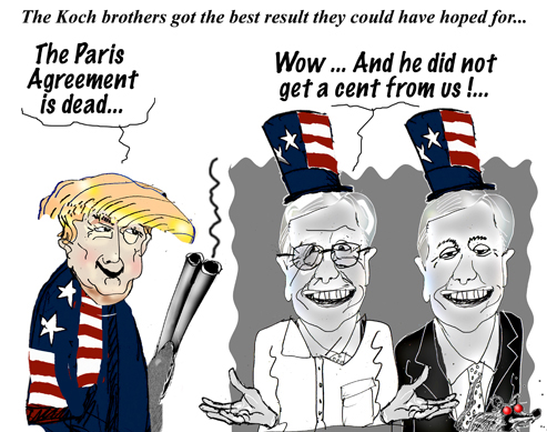 Image result for cartoons koch brothers trump