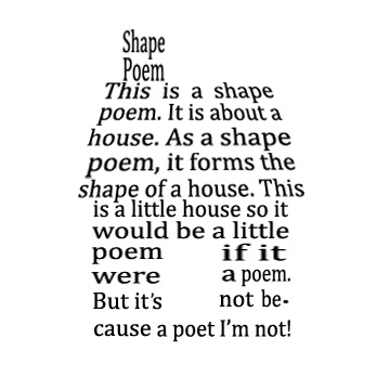 Examples of Shape Poems for Kids