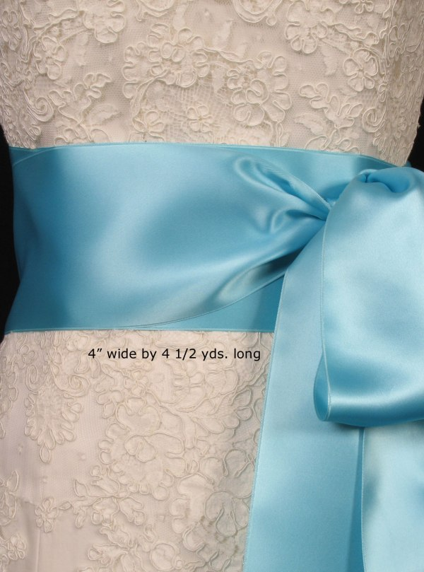 Tiffany Blue Double Faced Satin Ribbon Sash