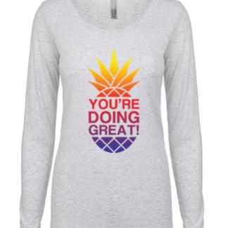 YDG Pineapple Women's Sunset White Long Sleeve