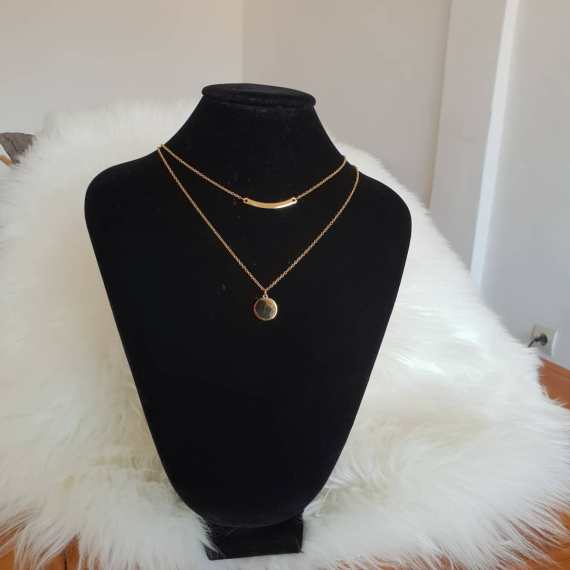 collier double chaine femme