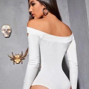 bodysuit blanc skinny épaules dénudées