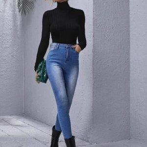 bodysuit col montant noir elegant