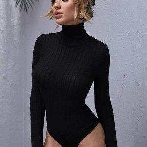bodysuit noir femme col montant