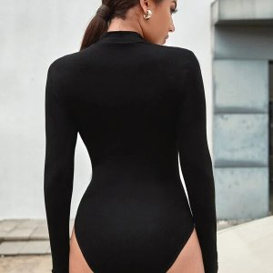 bodysuit femme resille fine uni noir
