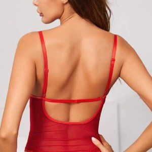 body lingerie teddy dentelle rouge