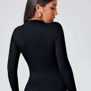 body manche longue noir femme