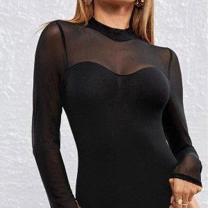 bodysuit femme manche longue noir