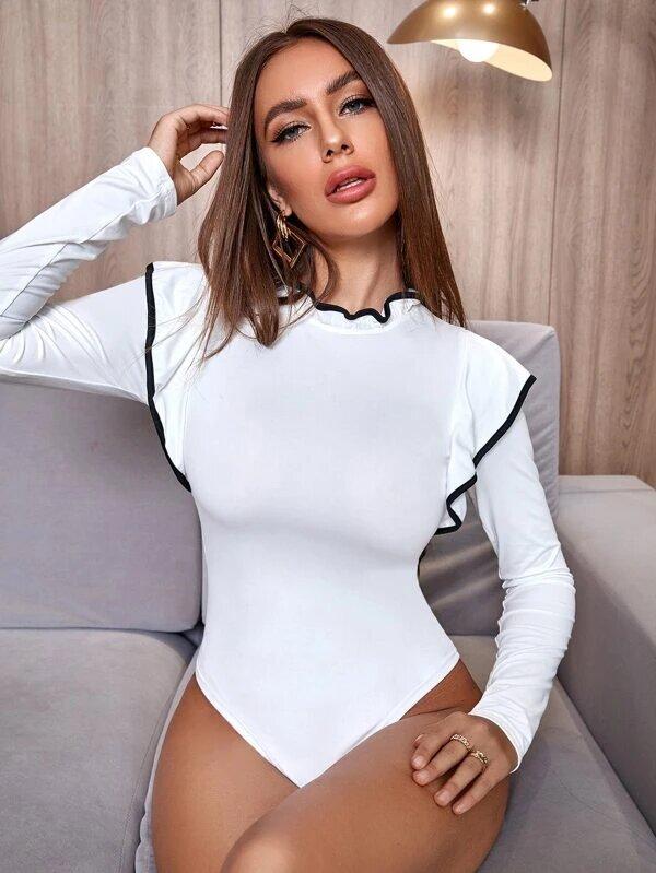 bodysuit femme ruffle manches longues blanc