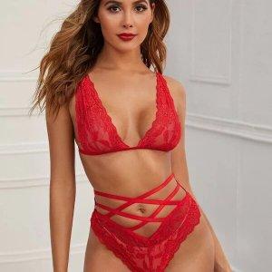 ensemble sexy lingerie rouge