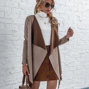 manteau waterfall collar femme elegant