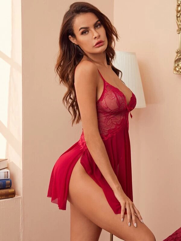 nuisette rouge sexy femme