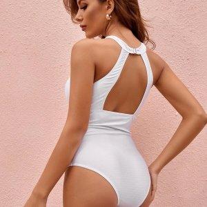 maillot de bain blanc une pièce dos nu