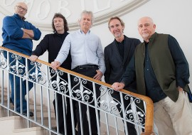 Phil Collins, Steve Hackett, Tony Banks, Mike Rutherford, and Peter Gabriel in Genesis - Sum of the Parts