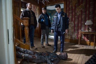 L-R: Hank, Nick, and Wu investigate a strange homicide involving a local ghost hunter.
