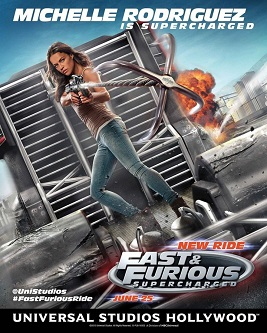 """UNIVERSAL STUDIOS HOLLYWOOD - THEME PARKS -- Pictured: Michelle Rodriguez in """"Fast & Furious - Supercharged"""" -- (Photo by: Universal Studios Hollywood)"""